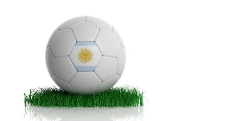 Argentina flag and football, white background. 3d illustration