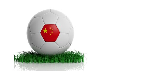 China flag and football, white background. 3d illustration
