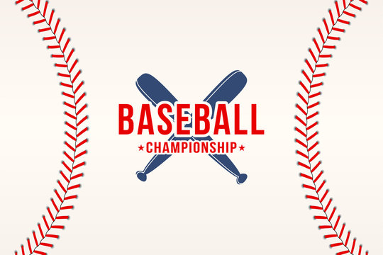 Baseball background. Baseball ball laces, stitches texture with bats. Sport club logo, poster design