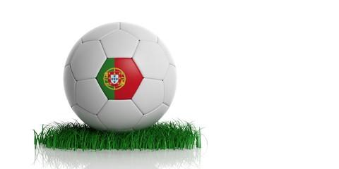 Portugal flag and  football, white background. 3d illustration