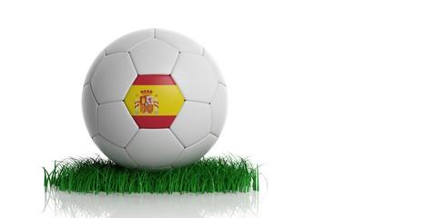 Spain flag and  football, white background. 3d illustration