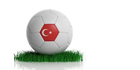 Turkey flag and  football, white background. 3d illustration