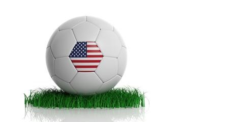United States flag and  football, white background. 3d illustration