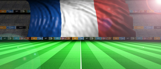 France flag in an illuminated football field. 3d illustration