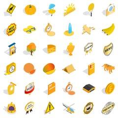 Rocket icons set, isometric style