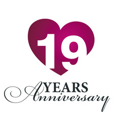 19 years anniversary white background