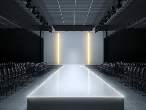 Empty fashion runway podium stage - 3d illustration