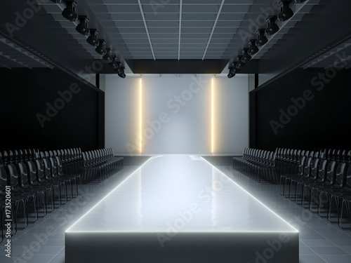 Empty fashion runway podium stage 3d illustration for Runway stages