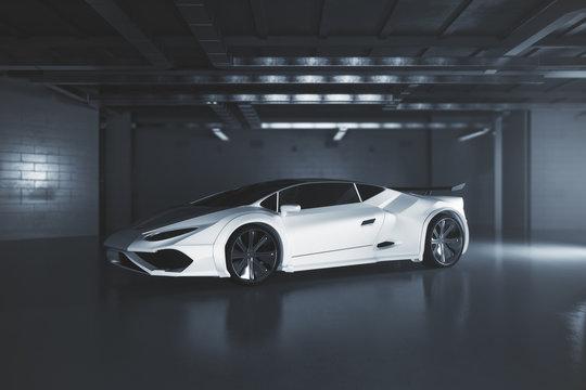 Modern white sportscar side