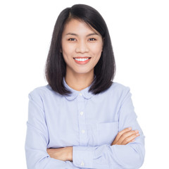 Portrait of a beautiful  asian business woman with arms folded. Isolated on white background