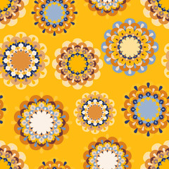 Colorful seamless pattern with round openwork elements, vector. Good for children's products, print on fabric, wallpaper, surface decor, gadgets and more