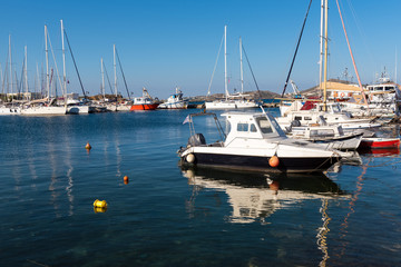 Boats parking in marina of Naxos town (Chora). Cyclades Islands, Greece.