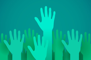 Raised up hands. Volunteering, charity or voting concept.