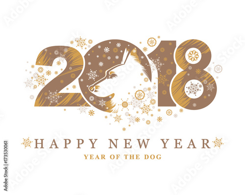 Dog 2018 Symbol On The Chinese Calendar Vector Illustration For New