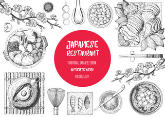 Japan food menu restaurant. Asian food poster with sashimi, miso soup, oden, natto, matcha tea, and sushi. Top view frame vector illustration.