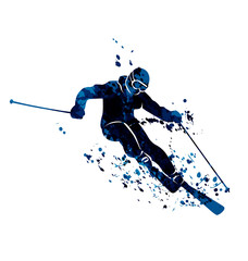 Vector watercolor silhouette skier