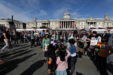 People gather during the Japan Matsuri festival 2017 in Trafalgar square, London