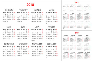 Calendar for 2018, 2019, 2020 years