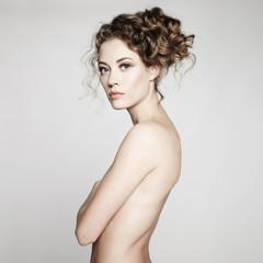 Printed kitchen splashbacks womenART Nude woman with elegant hairstyle on gray background