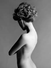 Canvas Prints womenART Nude woman with elegant hairstyle on gray background