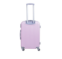 Pink suitcase isolated on white background. Polycarbonate suitcase isolated on white. Pink suitcase.