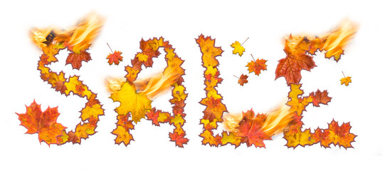 Word Sale with flame made of bright maple leaves
