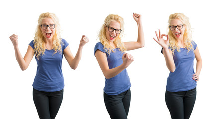 Woman celebrating her succes in 3 different ways