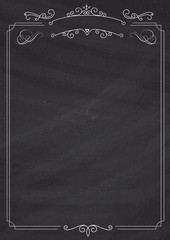 Ornamental retro border and blackboard textured background