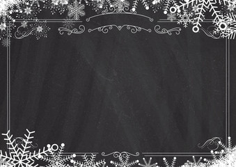 Christmas Winter Snowflake Retro Border And Blackboard Textured