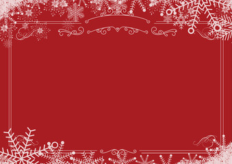Christmas winter snowflake retro border and red textured background