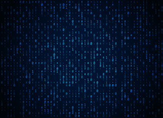 Vector binary code dark blue background. Big data and programming hacking, deep decryption and encryption, computer streaming numbers 1,0. Coding or Hacker concept