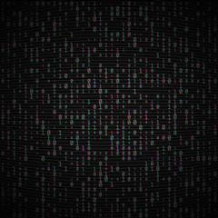 Vector binary code dark background. Big data and programming, hacking, decryption, encryption, computer numbers 1,0. Coding or Hacker concept. Analog TV Glitch moire texture. No signal noise