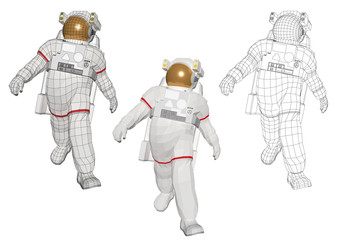 Astronaut walking in a cool style