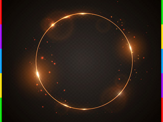 Wall Mural - Vector golden frame with light effect flare and sparks. Shining round Christmas banner. Glow ring isolated on black transparent background. Vector illustration