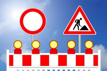 Durchfahrt verboten Baustellenabsperrung mit Schildern