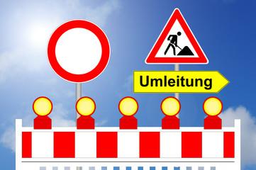 Baustelle, Durchfahrt Verboten und Umleitung