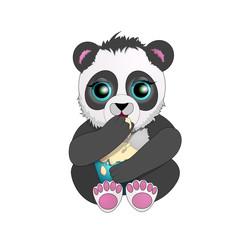 beautiful Panda with big eyes eat ice cream. cartoon character.