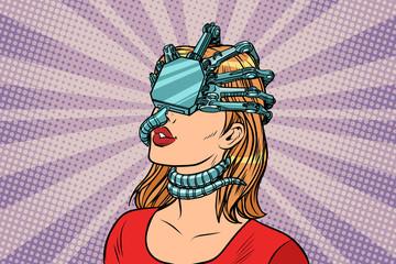 woman in a virtual reality, dangerous parasite helmet