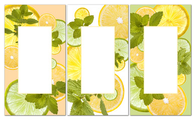 fresh orange, lemon and lime background can be used for beverage list