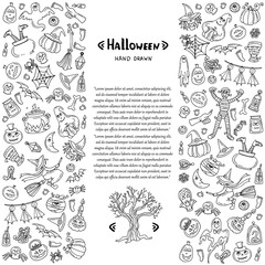 Vector cover with hand drawn symbols of Halloween on white color