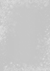 Winter Christmas silver grey paper background with snowflake border