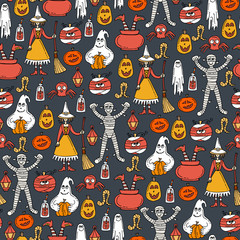 Vector seamless pattern with hand drawn colored symbols of Halloween on gray color