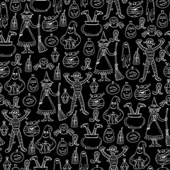 Vector seamless pattern with isolated hand drawn symbols of Halloween on black color