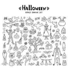 Vector set with hand drawn isolated doodles on the theme of Halloween on white background