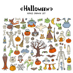 Vector set with hand drawn, colored, isolated doodles on the theme of Halloween on white background