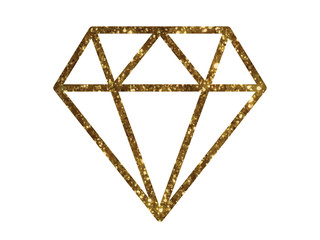 Vector golden glitter of flat diamond icon