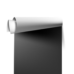 Paperhanging (wallpaper) roll background. Scrolled wallpaper mockup, black and white colors, easy to recolor. Vector illustration