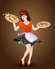 Cartoon waitress with two pizzas, vector illustration in pin up style