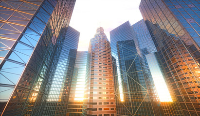Conceptual 3D cityscape with sun reflection in the windows of buildings.