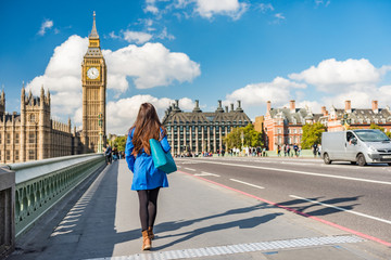 Fotobehang Londen London city urban lifestyle tourist woman walking. Businesswoman commuting going to work on Westminster bridge street early morning. Europe travel destination, England, Great Britain, UK.